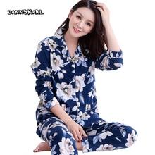Натуральный хлопок из двух частей Для женщин Пижамы для девочек ночного отдыха Длинные Брюки для девочек рукавами женщина Ночные сорочки пижамы сна Lounge Plus Размеры M-XXXL