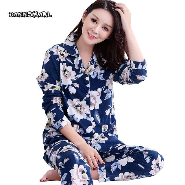 Pure Cotton Two-piece Women's Pajama Sets Night Leisure Long Pants Sleeved Woman Nightgowns Pyjama Sleep Lounge Plus Size M-XXXL