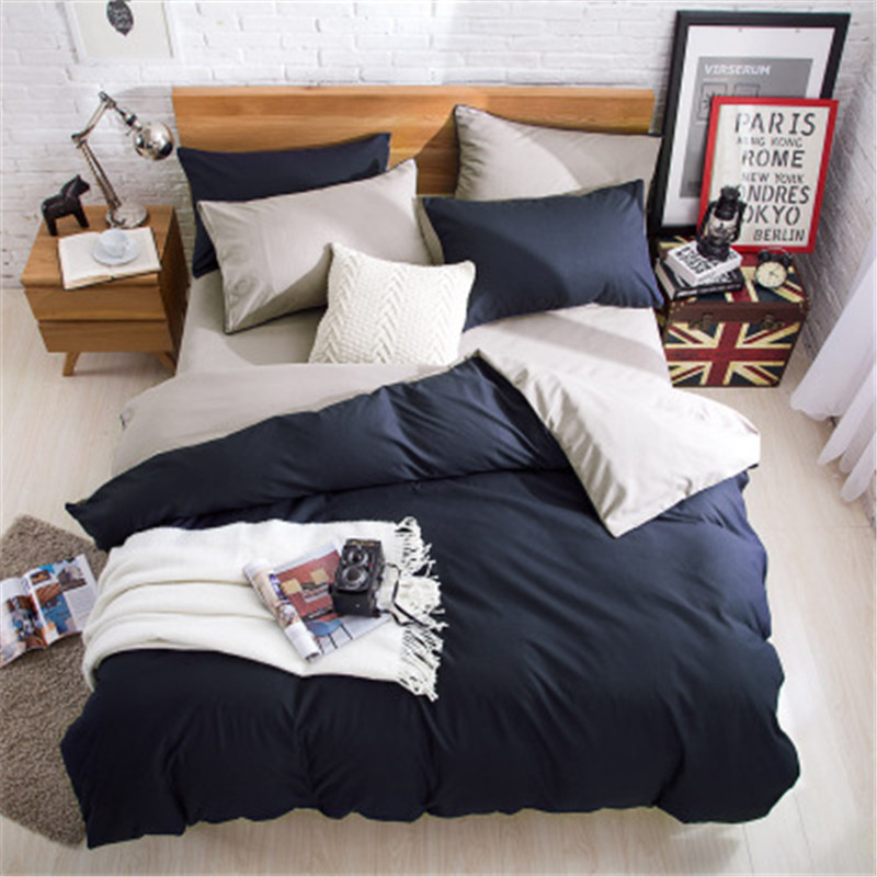 230X250cm AB Side Bedding Set Super King Duvet Cover Set Dark blue +beige 4pcs BedClothes Adult Bed Set Man Duvet Flat Sheet