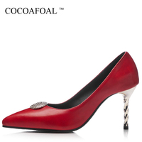 COCOAFOAL Woman Red Wedding Pumps Plus Size 32 48 Sexy High Heels Shoes Pointed Toe Gray