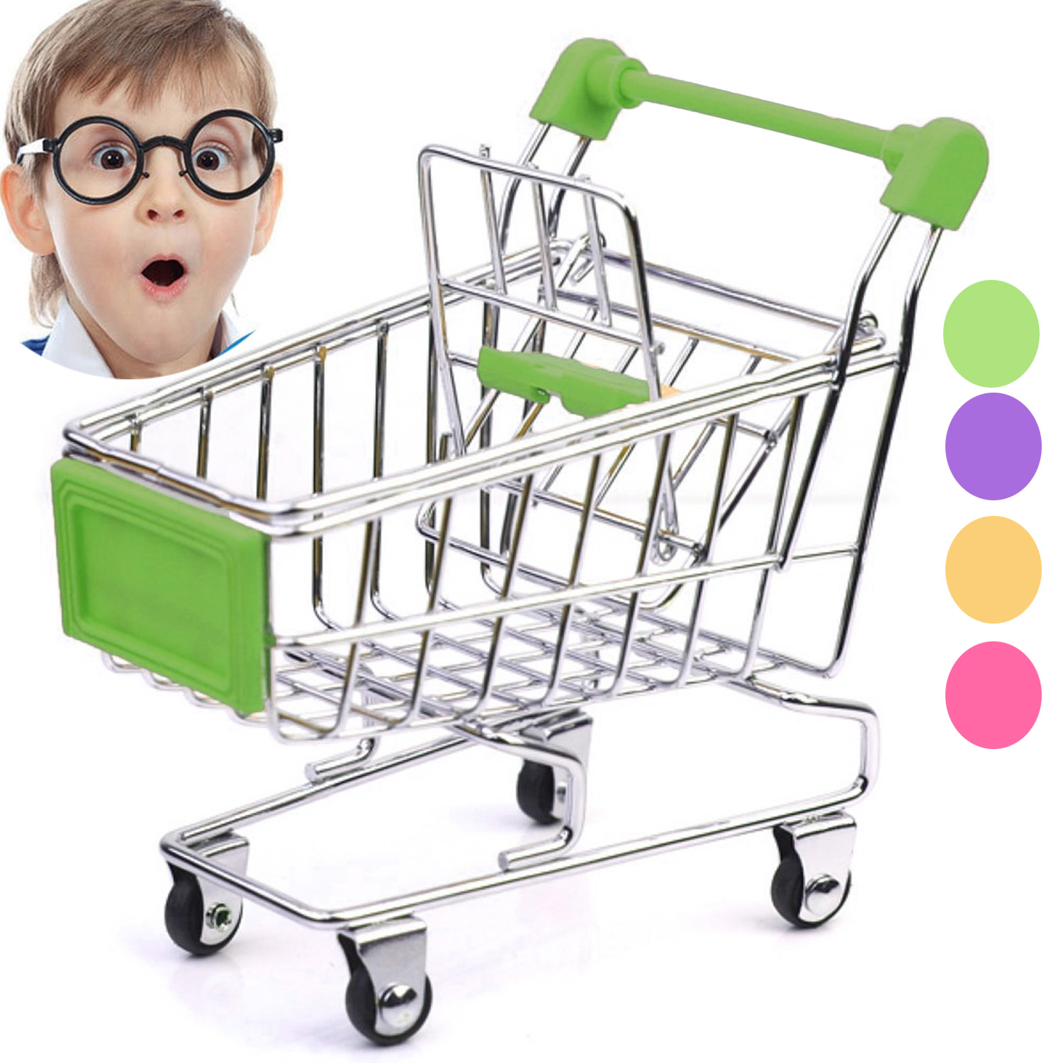 Simulation Miniature Supermarket Shopping Cart Trolley Toy Basket Folding Handcart Wheel Home Storage Children Parrot Toys Gift