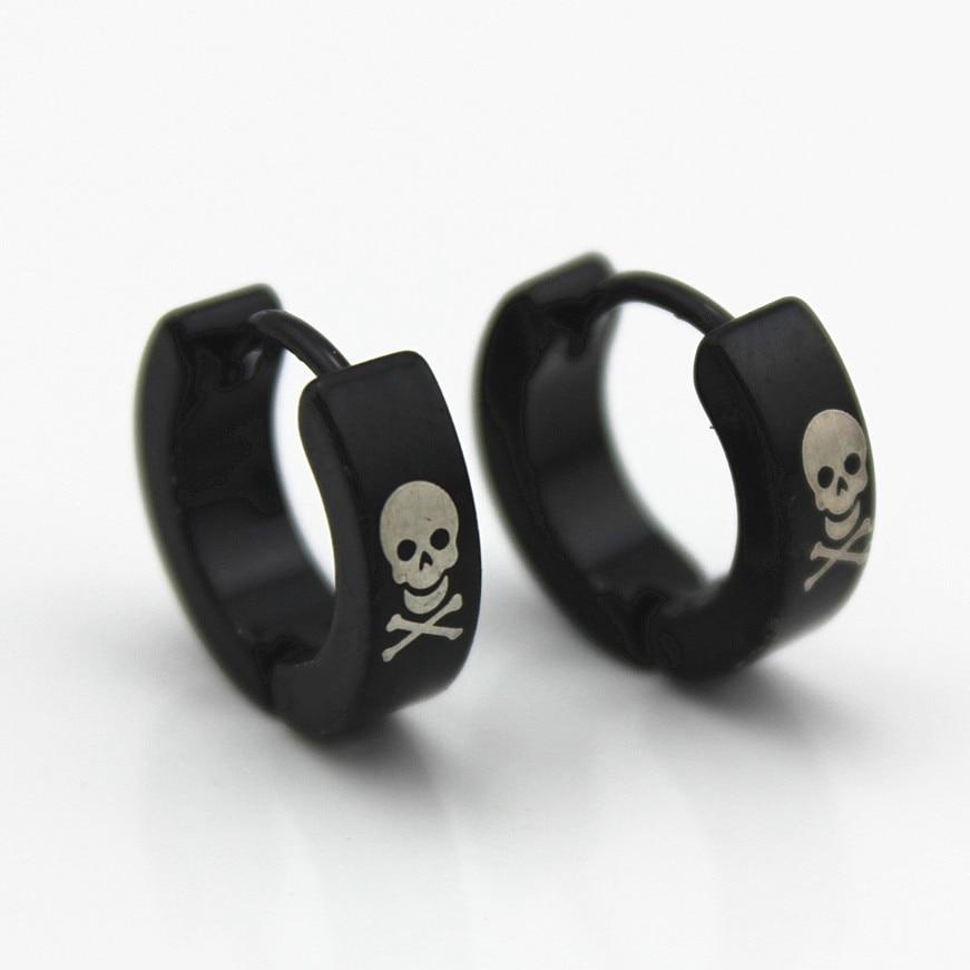 Titanium Earrings Skull Greek-Key 316l-Stainless-Steel Black Wholesale High-Quality 4mm