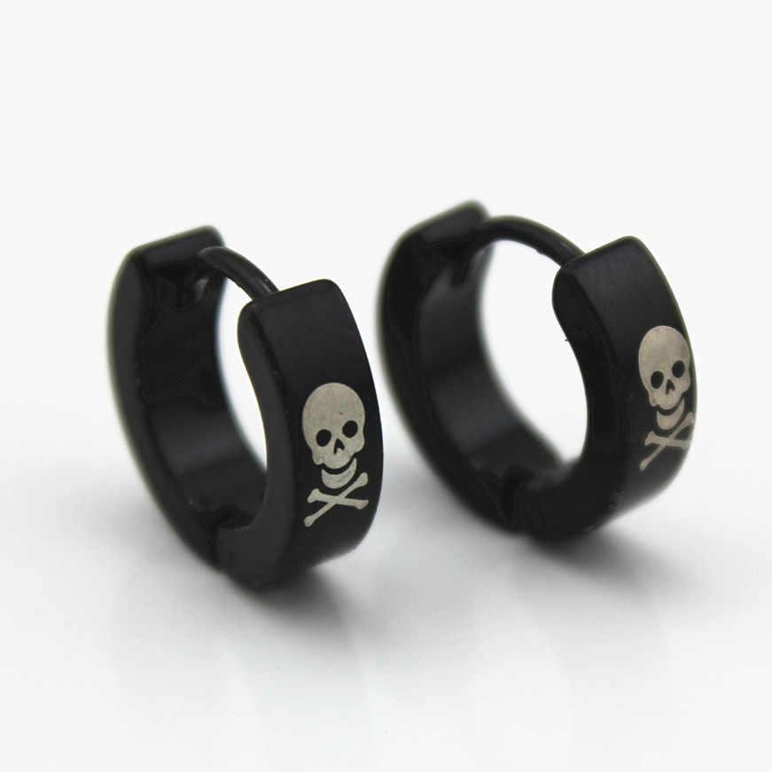 โรงงานผู้ชายต่างหู Black Skull ต่างหูไทเทเนียม 316L สแตนเลสสตีลต่างหูสตั๊ดภาษากรีกคุณภาพสูงขายส่ง 4 มิลลิเมตร