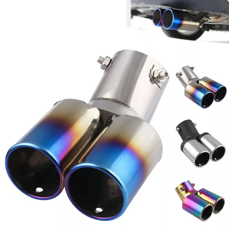 Dual Pipe Universal Car Stainless Steel Exhaust Tip Tail Muffler Trim Right Side
