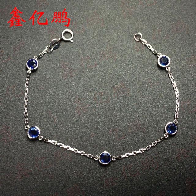 18 k embutidos de ouro 2.17 quilates natural sri lanka safira azul royal pulseira do sexo feminino