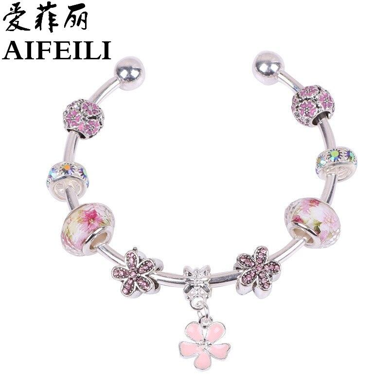 ̿̿̿(•̪ )Aifeili moda capaces flor Cuentas y cristal pulsera regalo ...