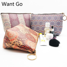 Want Go National Beauty Case Women Cosmetic Bags Professional Wash Toiletry Make Up Bag Printing Waterproof Travel Storage Pouch