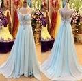 Caliente vestido de fiesta elegante 2016 V cristales cuello con cuentas Backless larga cabida Prom tribunal tren vestido de Baby Blue Prom vestidos