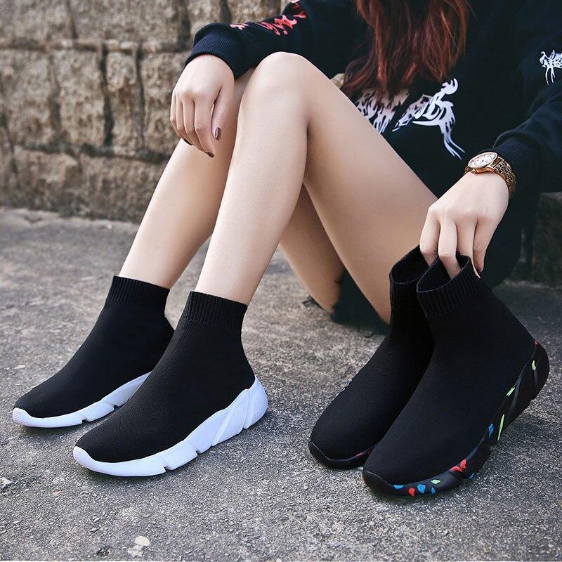 MWY Frauen Laufschuhe Stretch Stoff Stiefeletten Socke Turnschuhe Turnhalle Schuhe Frauen Chaussure Femme rutschfeste Außen Sport Schuhe