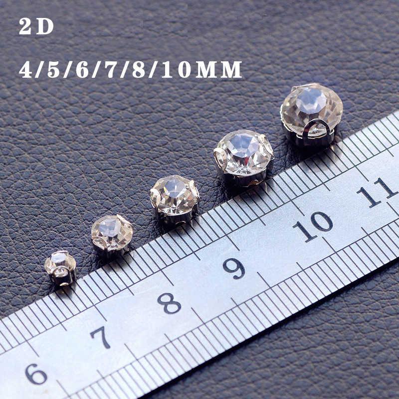 NUOVO! 2D-4mm-10mm Vetro Sew-on Strass con Fondo Argento FAI DA TE Abiti delle Donne 100 pz-200 pz