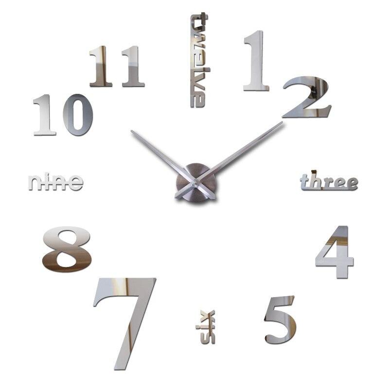 2019 HOT 3d diy Akrylové miroir nálepky na nástěnné hodiny hodinky Hodinky Quartz Moderní reloj de pared domácí dekorace nové