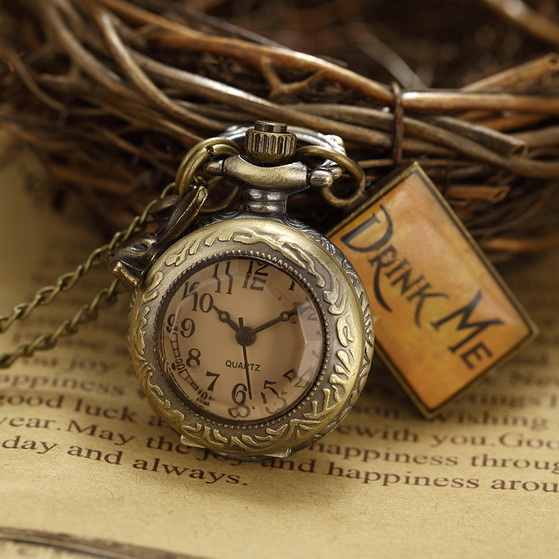 Bronze Pocket Watch Necklace Chain Watches Unisex Men and Women Gift Alice In Wonderland Drink Me Men's Women's Birthday Gifts alice in wonderland drink me tag rabbit quartz pocket watch gift set pendant necklace fob chain with gift box for women mens