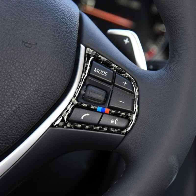 VODOOL 2 Pcs คาร์บอนไฟเบอร์รถยนต์พวงมาลัยฝาครอบปุ่ม Trim Auto รถจัดแต่งทรงผมตกแต่งรถสติกเกอร์สำหรับ BMW f20 F21 F30 F32