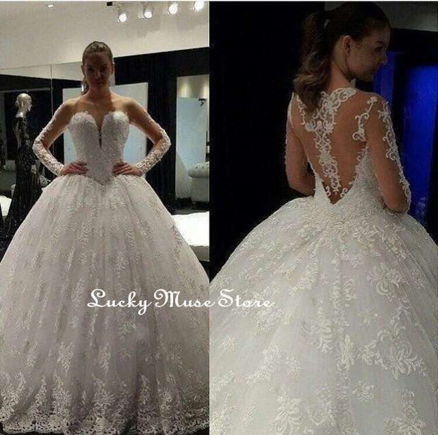 Long Sleeves Princess Wedding Dresses With Aplliques Ball Gowns See Through Back Tulle Dubai Luxury Bridal