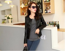 2017 Spring Autumn Short Design Slim Collarless PU Leather Jacket Women Faux Leather Motorcycle Coat Female Outerwear