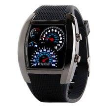 2017 Azul y Blanco de La Manera LLEVÓ el Reloj de Goma Negro Velocímetro Dot Matrix Niños Mens Relojes Deportivos relojes de Pulsera Digitales Regalo L8891