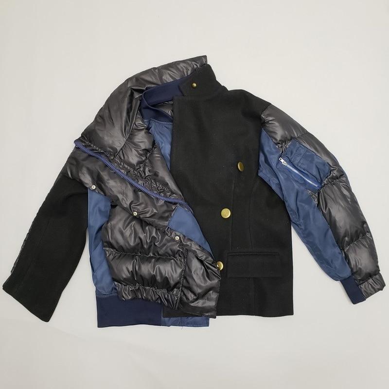Streetwear Coréen Lâche Qh202 D'extérieur Veste Vêtements Chauds De D'hiver Patchwork Parka Matelassé Laine Manteau 2019 Grande Femme Noir Taille Coton XHIXr