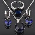 Clássico Rodada Azul Cúbicos de Zircônia Para As Mulheres 925 Conjuntos de Jóias de Prata Pingente de Colar Brincos Anéis Frete Grátis JS084