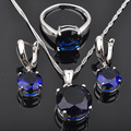 Classic Round Blue Cubic Zirconia For Women 925 Silver Jewelry Sets Pendant Necklace Earrings Rings Free Shipping  JS084