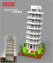 SC: Great architectures  – Leaning Tower of Pisa  (Torre di Pisa) 1090  Diamond Micro Nano Building Blocks Action Figure gifts