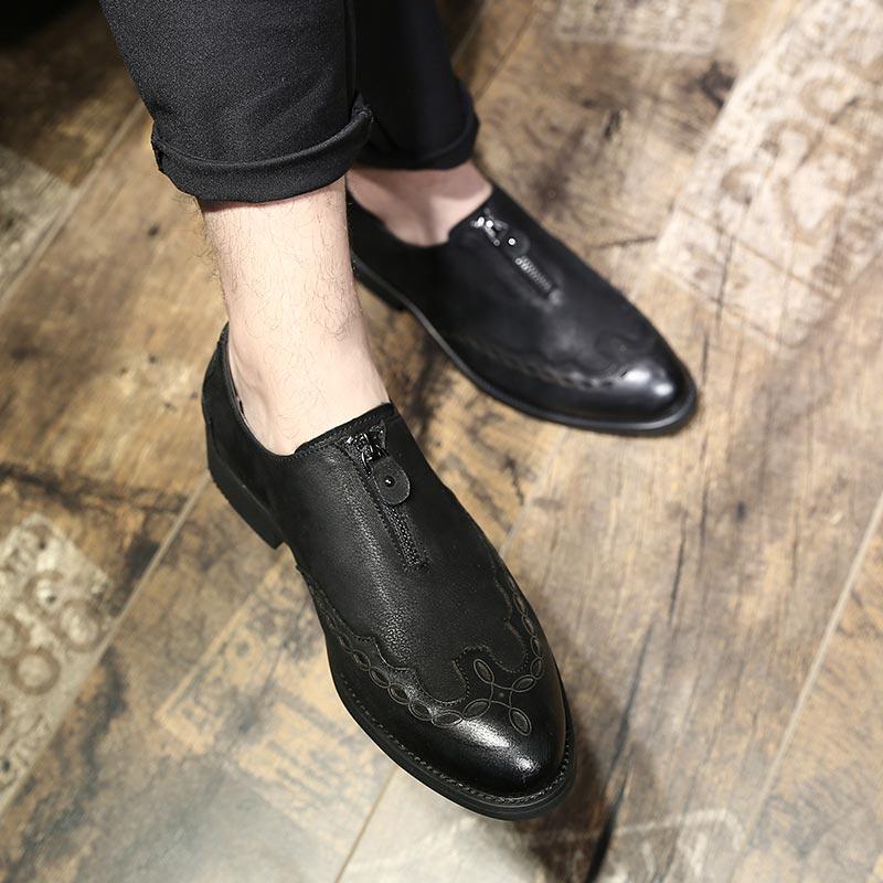 Fundo Sapatos Homens De Moda Couro Dos Artesanal Casuais Mycoron Bullock Preto Luxo 100 Negócio Marca Esculpida Confortável Macio Genuíno E qAwnxpPF
