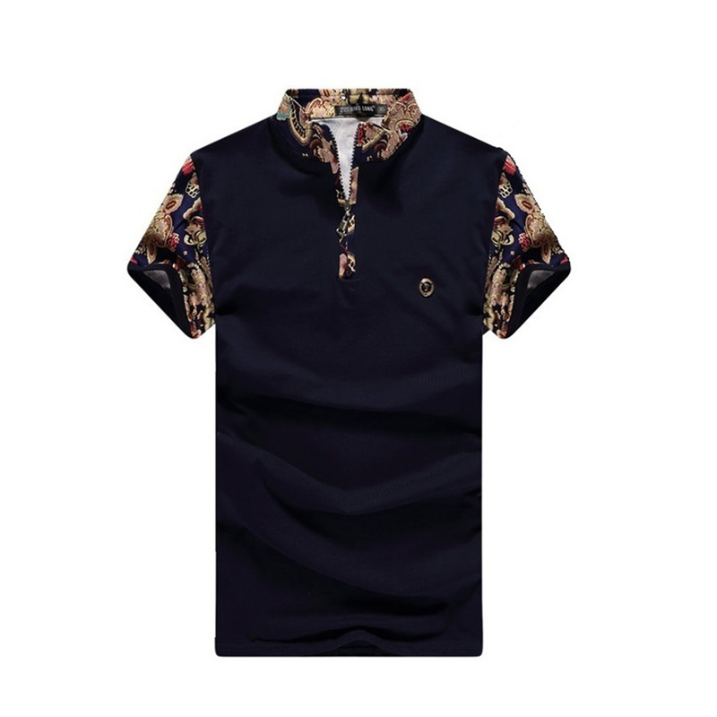 2018 New summer men's   polo   shirt fashion color matching pattern stand collar short sleeve Casual shirt