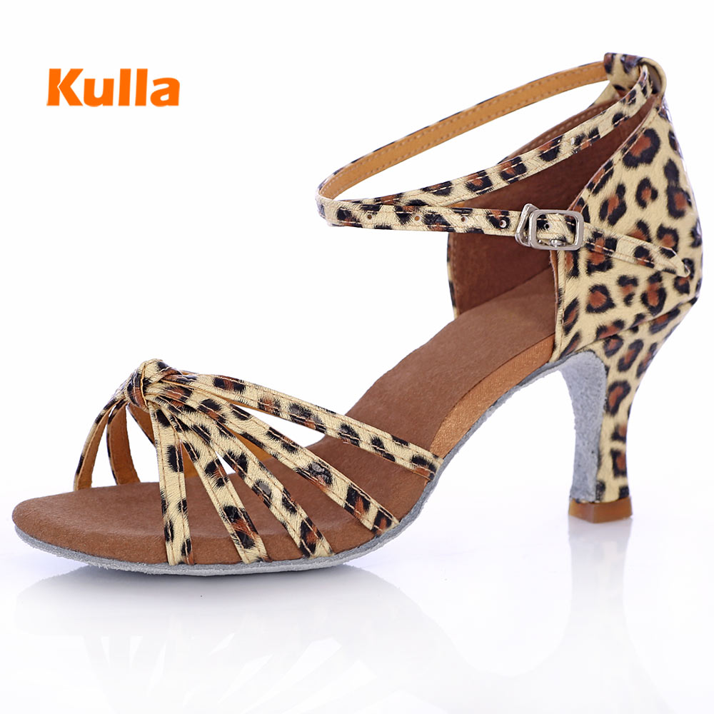New Woman Girls Latin Salsa Dance Shoes PU Leopard Soft Sole Women/Ladies Ballroom Tango Party Dancing Shoes High Heeled 5cm/7cm