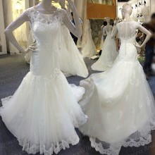 Professional Factory Made Beautiful Wedding Gown Appliqued Sweep Train Tulle High Quality Actual Image Wedding Dresses MF632