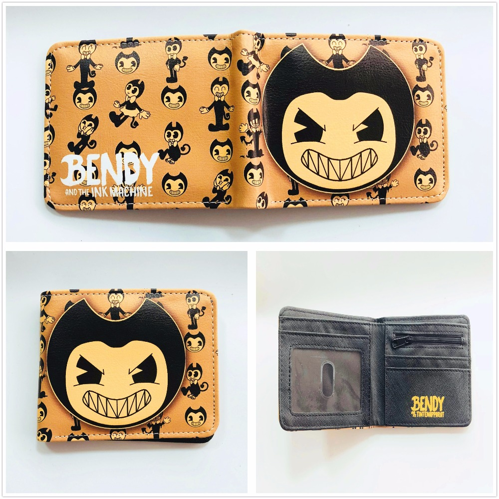 Anime cartoon wallet Bendy and the Ink Machine short pu purse credit card holder wallet boys and girls universal wallet W895Q 2016 new arriving pu leather short wallet the price is right and grand theft auto new fashion anime cartoon purse cool billfold