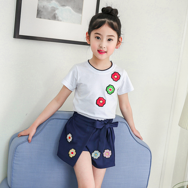 4-13 Year Children Clothing 2018 Baby Girl Summer Clothes Embroidery Short Sleeve Shirt + Skirt 2pcs Sports Suit Meisjes Kleding