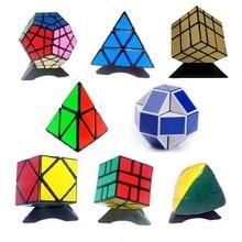 лучшая цена 8pcs/Set Shengshou Black Strange-shape Magic Cube Set Speed Twist Puzzle Bundle Pack Cube PVC&Matte Stickers Cubo Magic Puzzle
