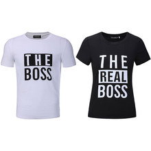 0317734d The Boss The Real Boss Funny Couple Matching T-shirts Husband and Wife Tees  Love Couple Top Tee Funny Print women's tee shirts