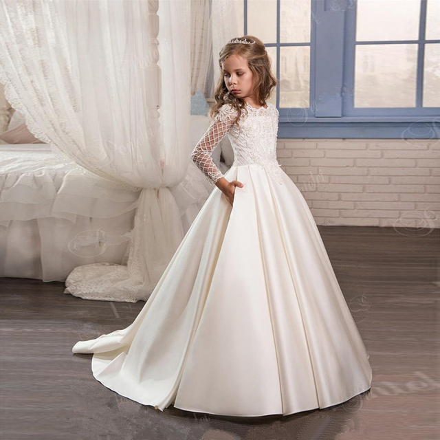 satin flower girl dresses