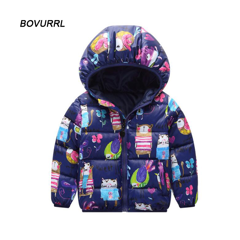 Winter jackets for girls kids fashion floral printed girls parka coats thick fleece warm children girls jacket in Down Parkas from Mother Kids
