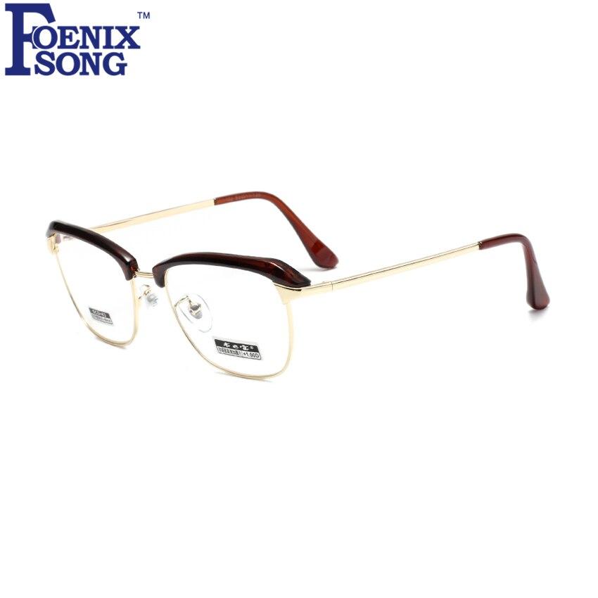 20bcf3354 FOENIXSONG جديد الرجال المرأة قصر النظر نظارات القراءة النظارات البصرية  البني الذهب إطار Oculos الكمبيوتر نظارات + 1.0 + 2.5 + 4.5