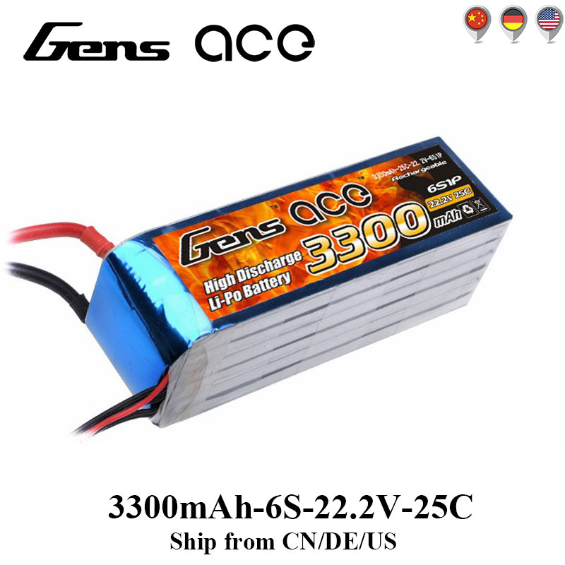 Gens ace Lipo Battery 6S 3300mAh Lipo 22.2V Battery Pack T Plug 600 Size Helicopter for Align Trex GAUI ElyQ Trex Airplane Align fh100 compatible 7 2v 3300mah battery pack for sony sr300e sr200e sr82e more