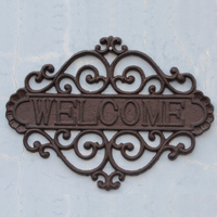 Welcome Sign for Door Cast Iron Rustic Vintage Welcome Sign | Decorative Welcome Wall Plaque | For Door, Entrance or Outdoor