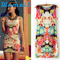 Shocking Show Women Floral Print Sleeveless Clubwear Party Summer Sexy Mini Dress