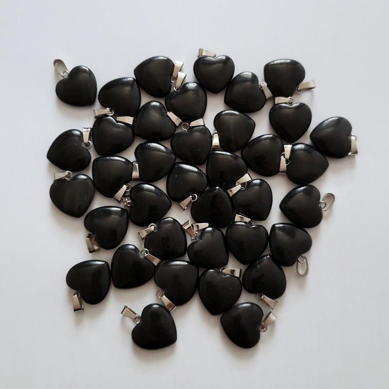 2018 Fashion Natural Stone Mixed Hollow Heart charm Pendants 12pcs Wholesale