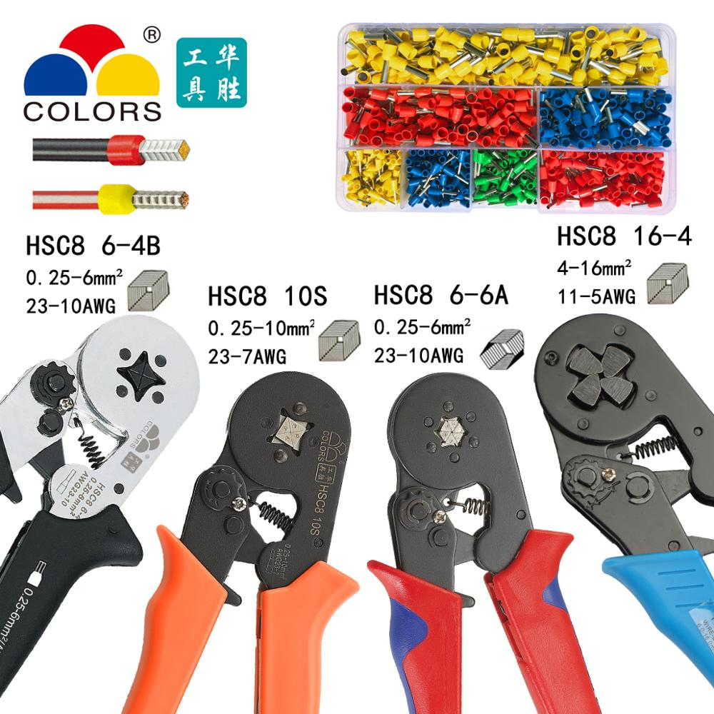 Farben Hsc8 10 S Crimpen Zangen 0,25-10mm2 23-14awg Hexagon Viereck Elektrische Rohr Terminals Box Marke Clamp Hand Werkzeuge Heller Glanz Werkzeuge