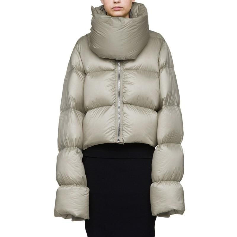 High-collar Thicker Ultra-Long Sleeve Snow Wear White Duck Down Coat European 2018 Winter Jacket Women Short Outerwear A969