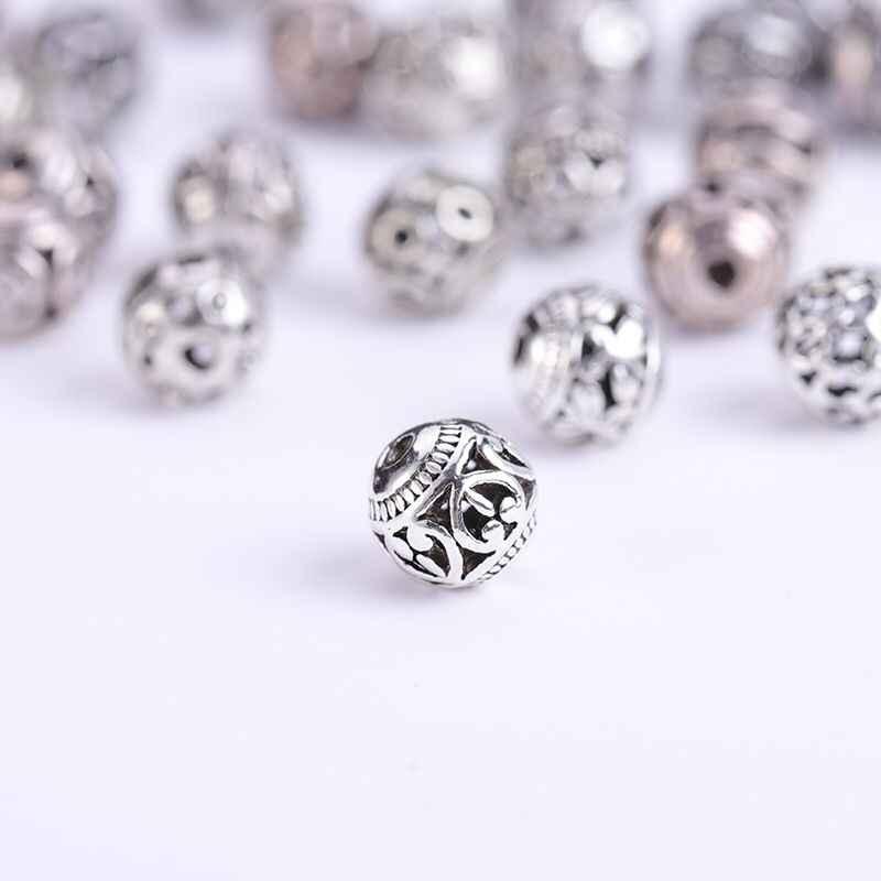 10/30 sztuk wielu wzorów 8mm tybetański srebrny okrągłe metalowe koraliki Hollow Out rzemieślnicze modlitwa Spacer koraliki Fit DIY biżuteria bransoletki