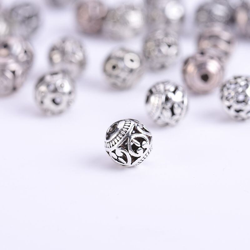 Image 2 - 10/30pcs Multi Designs 8mm Tibetan Silver Round Metal Beads  Hollow Out Handcraft Prayer Spacer Beads Fit DIY Jewelry  BraceletsBeads