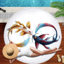 NEW 2019 Ultra-fine fibre circular fringed beach towel digital printed for European and American Pisces 150*150CM
