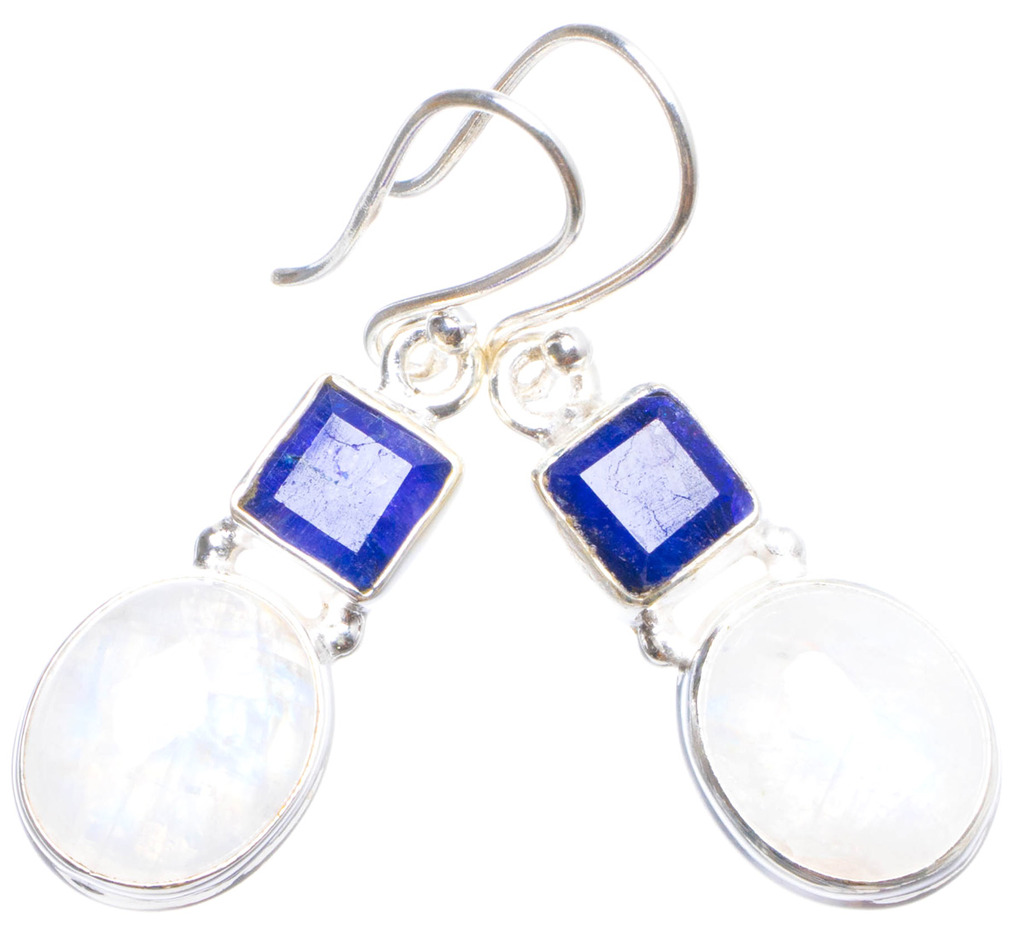 Natural Rainbow Moonstone and Sapphire Handmade Unique 925 Sterling Silver Earrings 1.5