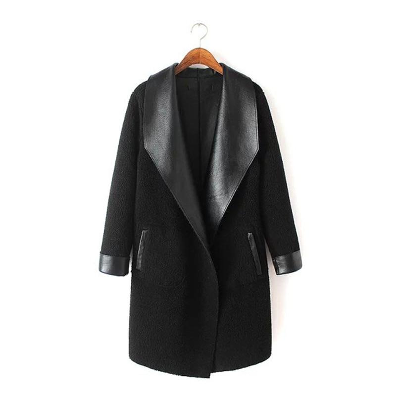 2019 Women's Lamb Cashmere PU Leather Jackets Long Autumn Winter Large Size Thick Lambskin Cardigan Outerwear Coats Plus Size