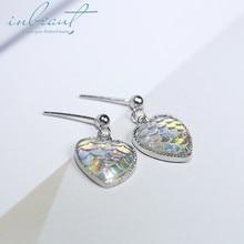 inbeaut Silver Coloful Fish Scare Heart Drop Earrings Female Korean Sparkling Zircon Mermaid Fishtail Texture