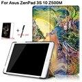 3 en 1 Lujo Del Soporte de la Cubierta Elegante Plegable de Impresión de Cuero de LA PU para Asus Z500M ZenPad 3 S 10 9.7 ''Tablet Case + Free Screen Protector + Pen