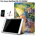 3 in 1 Luxury Stand Folding Smart Print PU Leather Cover for Asus ZenPad 3S 10 9.7'' Z500M Tablet Case+Free Screen Protector+Pen