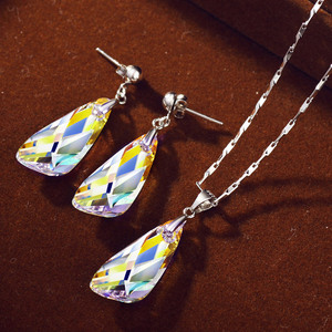 Image 4 - Neoglory kristal takı seti geometrik tarzı S925 gümüş kolye & küpe Swarovski kristalleri ile süslenmiş